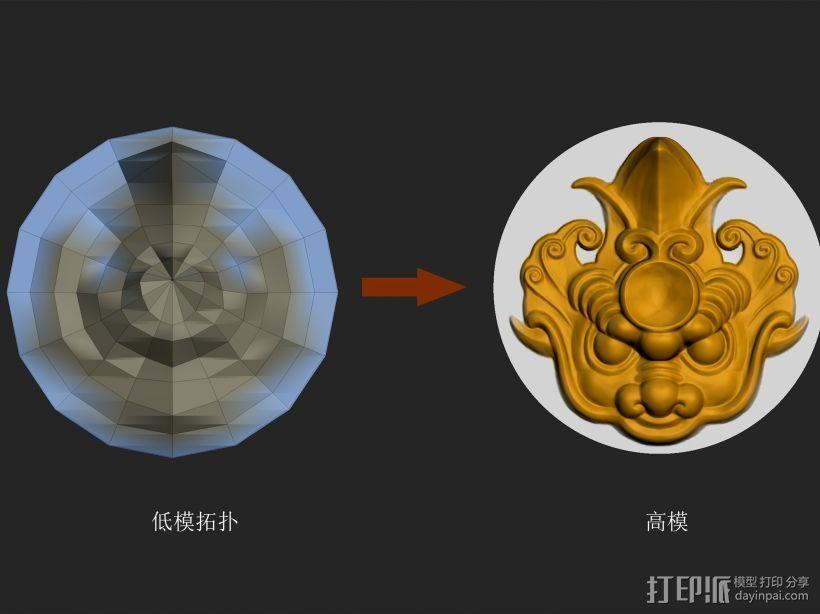 圆形镜面独角兽头雕刻 3D打印模型渲染图