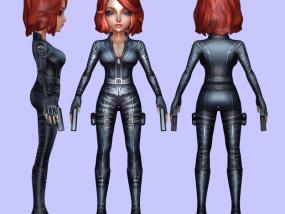Q版黑寡妇全彩3D打印模型