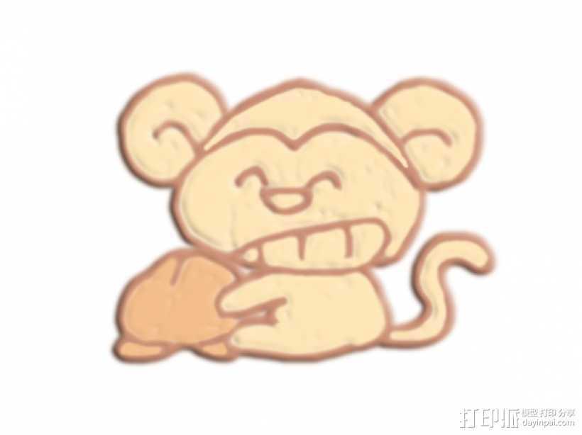 咧嘴笑的猴子 3D打印模型渲染图