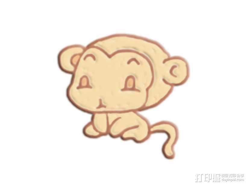 可爱的猴子 3D打印模型渲染图