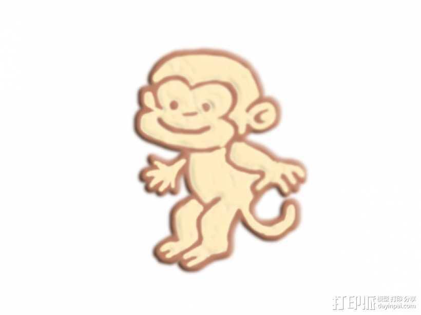 跳跃的猴子 3D打印模型渲染图