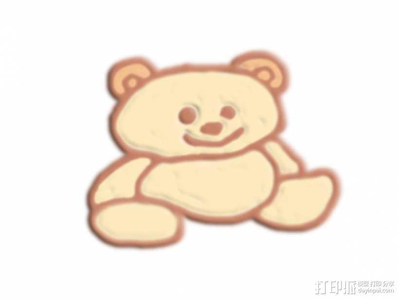 坐着的熊 3D打印模型渲染图