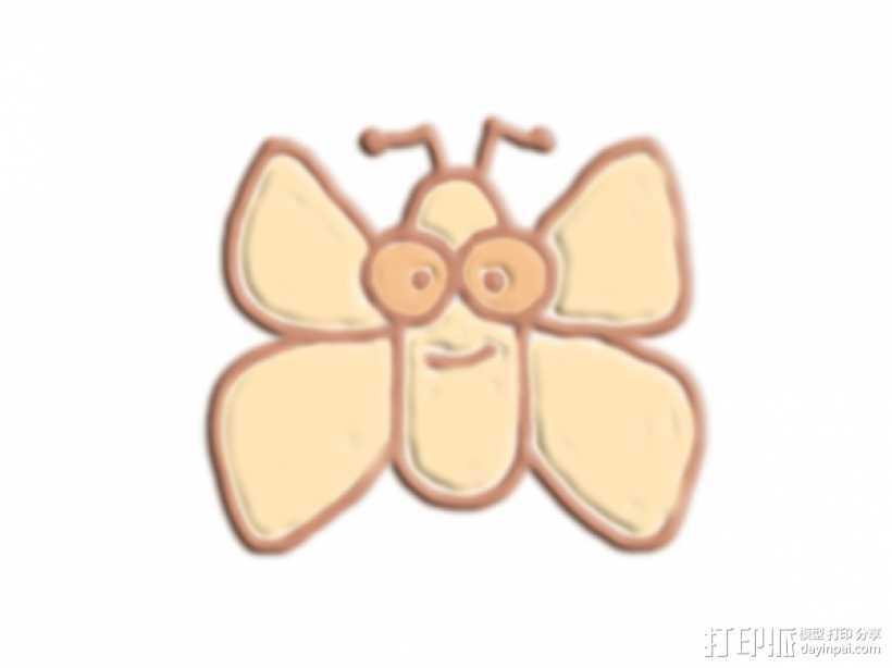 卡通蝴蝶 3D打印模型渲染图