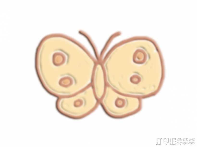 蝴蝶 3D打印模型渲染图