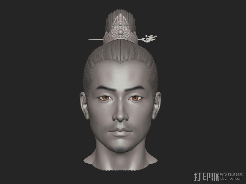 ZB标准男人体雕刻+古装发型 3D打印模型渲染图