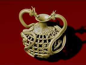 中国古代双龙瓶