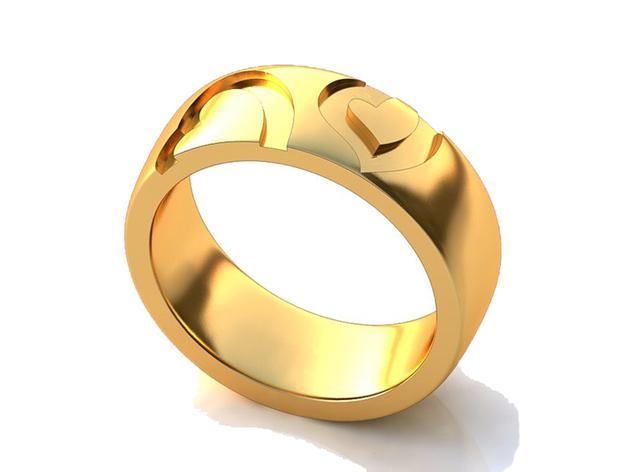 爱心花纹戒指