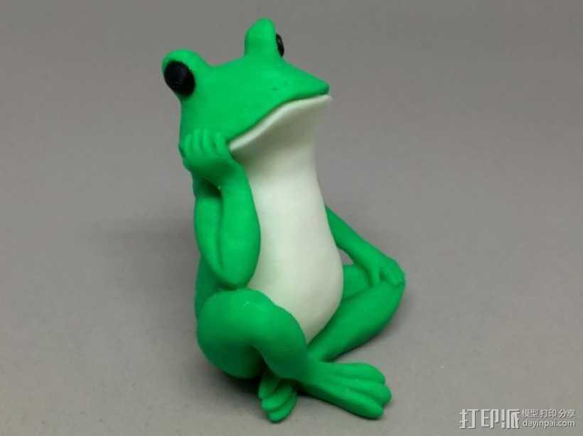 沉思的青蛙 3D打印模型渲染图
