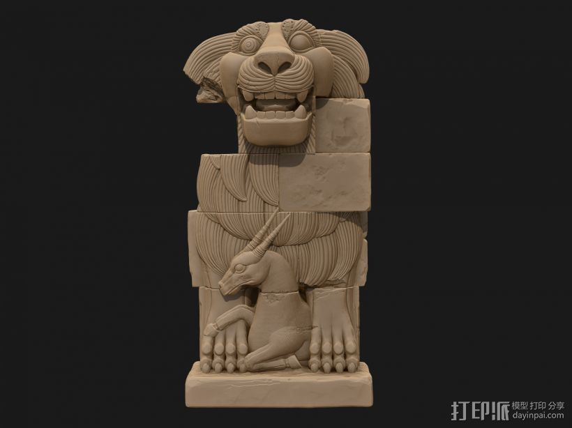 拉特女神之狮(Lion of al-Lat) 3D打印模型渲染图