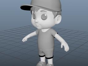 戴鸭舌帽的Q版可爱小孩