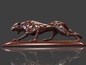 ZB精雕 豹子 车标 汽车摆饰 雕塑