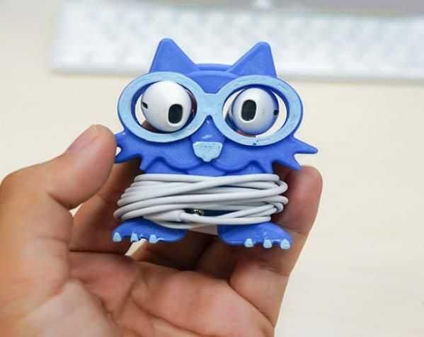 猫头鹰耳机收纳器 3D打印模型渲染图