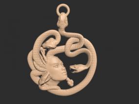蛇女吊坠模型