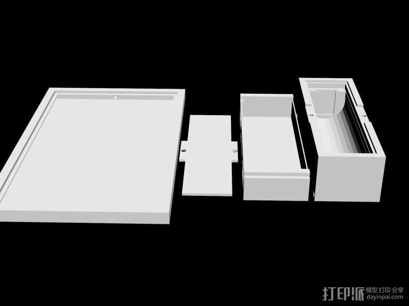 太阳能手机充电 锂电池套装 3D打印模型渲染图