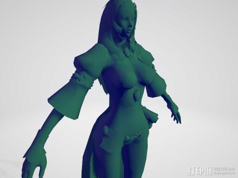 次世代剑灵女人物 3D打印模型渲染图