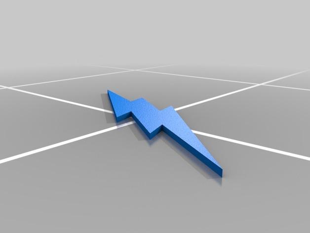 闪电侠标志 3D打印模型渲染图