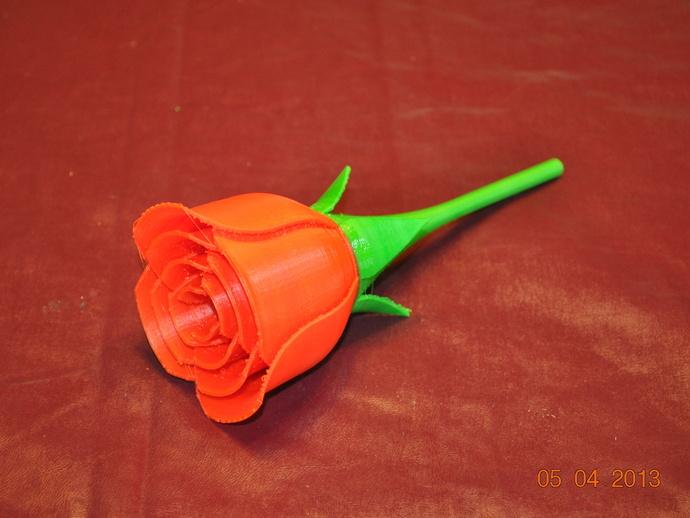 红色玫瑰花 3D打印模型渲染图