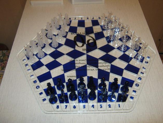 三人国际象棋 3D打印模型渲染图