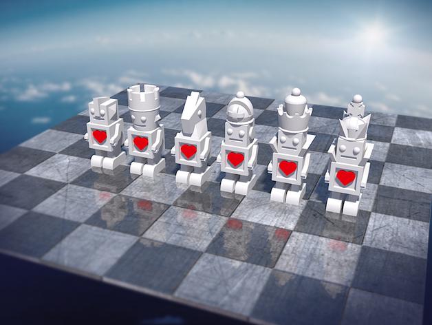 机器人形象棋 3D打印模型渲染图
