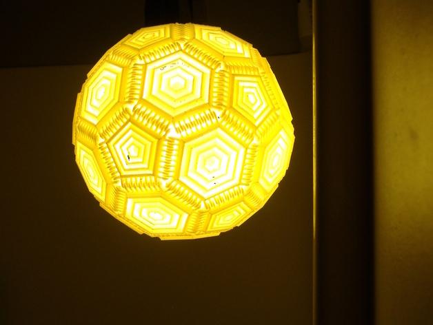 巴基球形灯泡 3D打印模型渲染图
