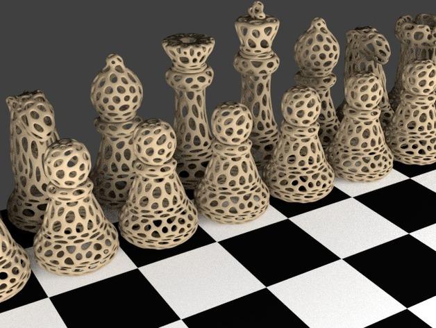 Voronoi风格象棋 3D打印模型渲染图