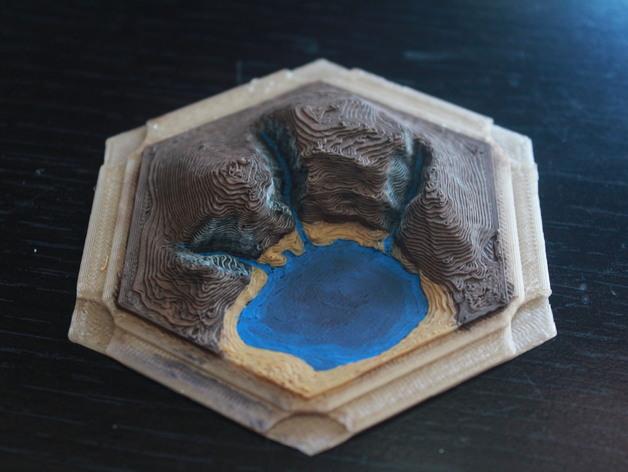 《卡坦岛》地形 3D打印模型渲染图