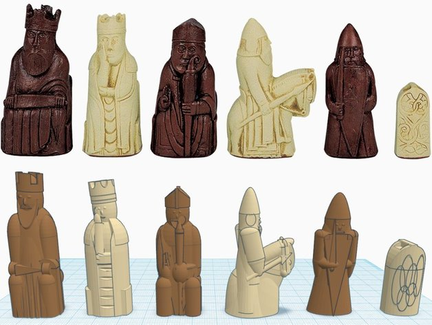 路易斯岛象棋 3D打印模型渲染图
