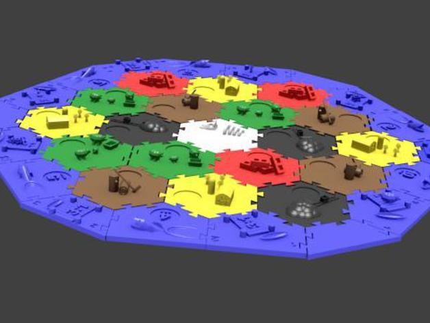 瓦片玩具 3D打印模型渲染图