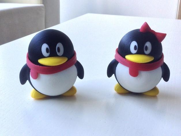 腾讯企鹅 3D打印模型渲染图