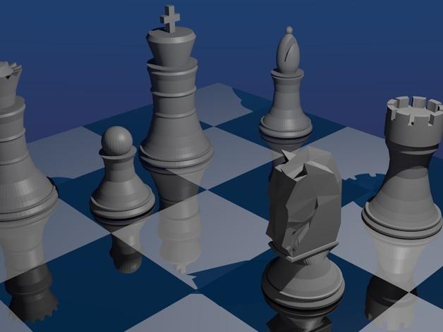 象棋 3D打印模型渲染图