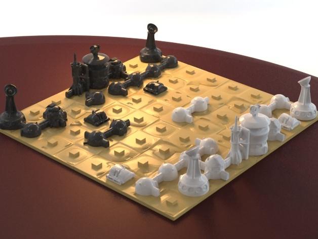 火星基地象棋 3D打印模型渲染图