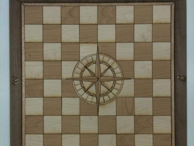 嵌有罗盘刻度盘的象棋棋盘 3D打印模型渲染图