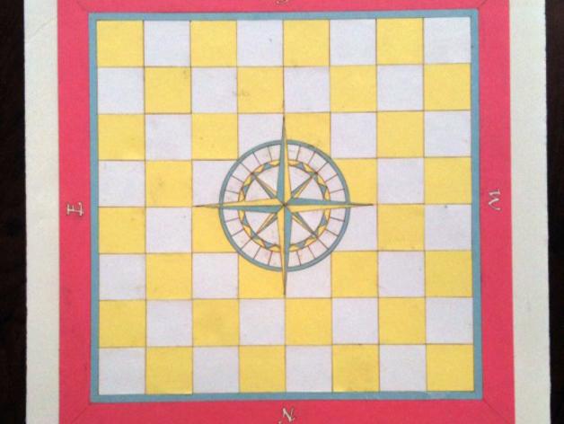 嵌有罗盘刻度盘的象棋棋盘