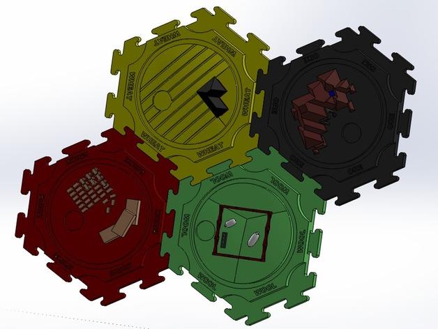 卡坦岛拓荒者瓦片 3D打印模型渲染图
