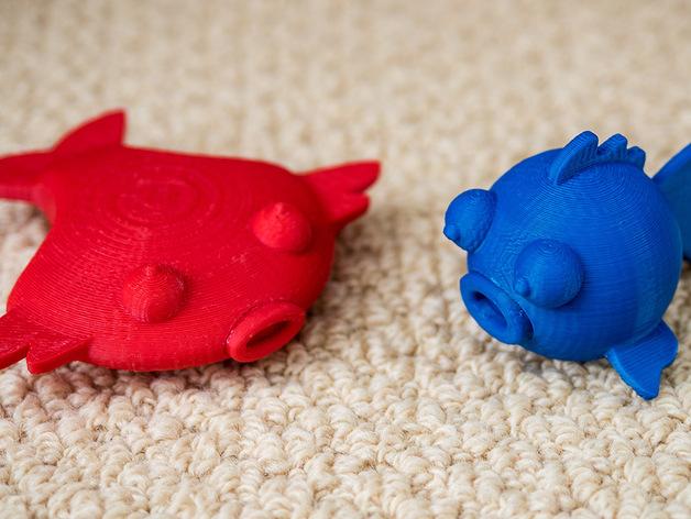 扁平状迷你鱼 3D打印模型渲染图