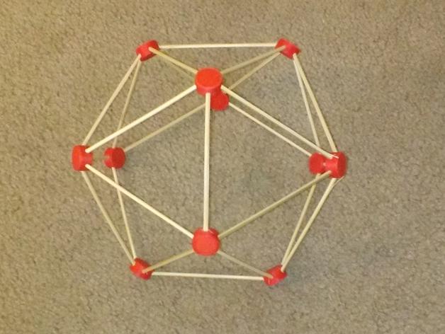 牙签制成的圆顶结构 3D打印模型渲染图