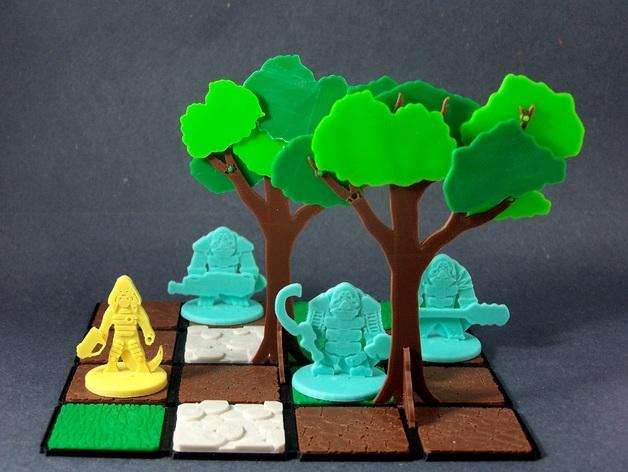 模块化的扁平树木 3D打印模型渲染图