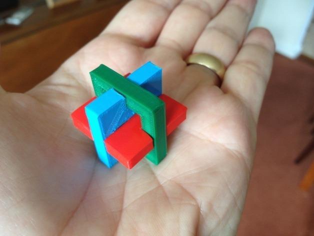 简易三面鲁班锁 3D打印模型渲染图