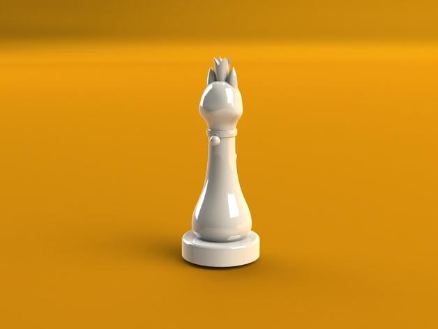 猫形象棋棋子 -- 王后 3D打印模型渲染图