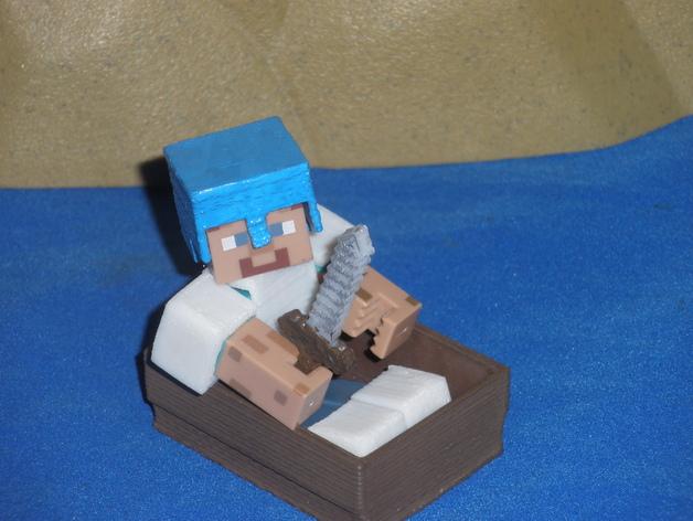 Minecraft人物玩偶船模型 3D打印模型渲染图