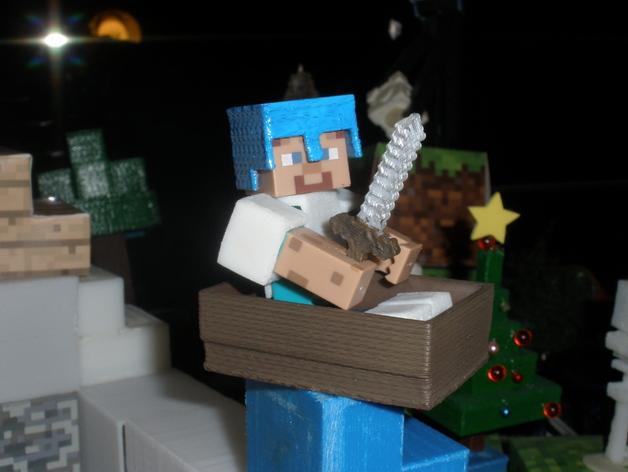 Minecraft人物玩偶船模型