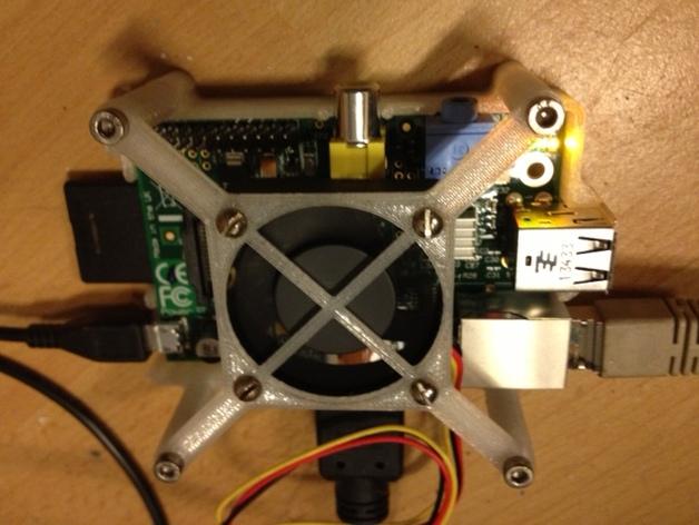 树莓派电路板 风扇支架 3D打印模型渲染图