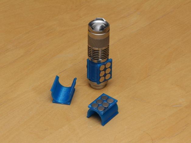 SIPIK SK68迷你手电筒 磁力架 3D打印模型渲染图