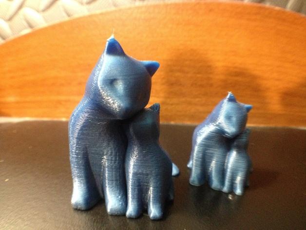 依偎着的猫 3D打印模型渲染图