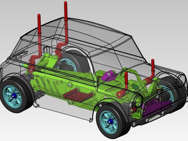 迷你库柏车  3D打印模型渲染图