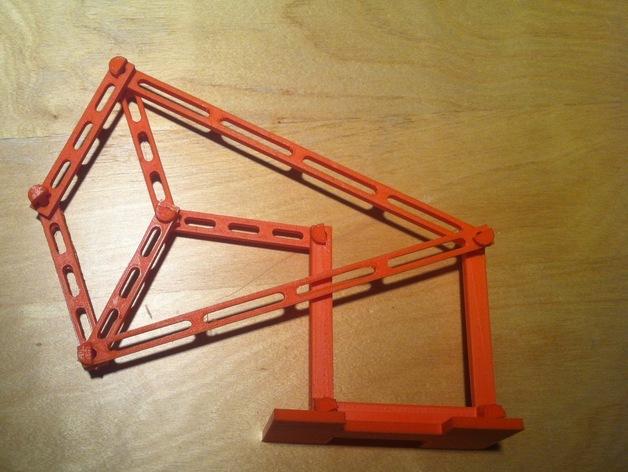 Peaucellier直线连杆 3D打印模型渲染图