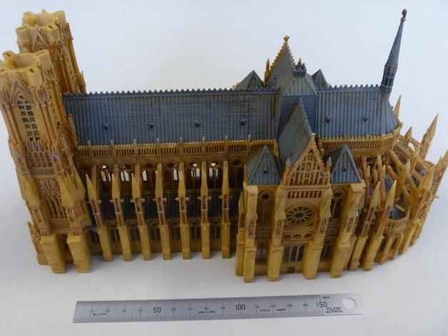法国兰斯大教堂  3D打印模型渲染图