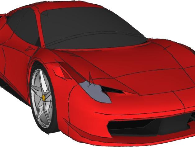 法拉利458 3D打印模型渲染图