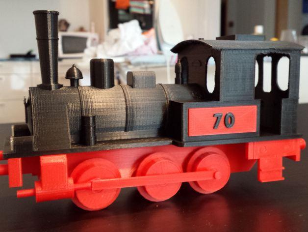 蒸汽机车 3D打印模型渲染图