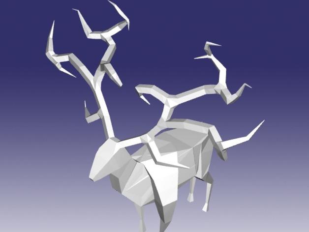 纸折驯鹿 3D打印模型渲染图